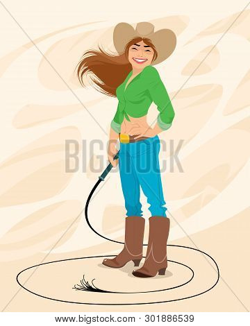 Vector Illustration Of A Portrait Of A Cowgirl