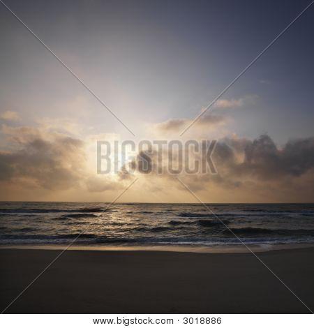 Sunset Over Beach.