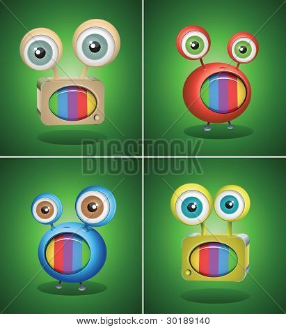 retro TV things on green background. Vector character design.