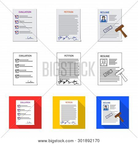 Vector Illustration Of Form And Document Icon. Collection Of Form And Mark Stock Symbol For Web.