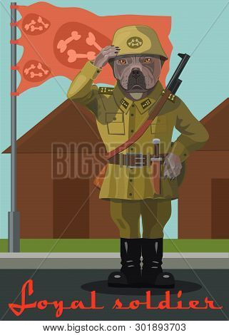 Soldier dog pit bull, he paw salutes when raise the flag, he is a loyal and loyal soldier! poster