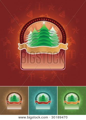 Vector Christmas tree banner set. All elements are layered separately in vector file. CMYK color mode.