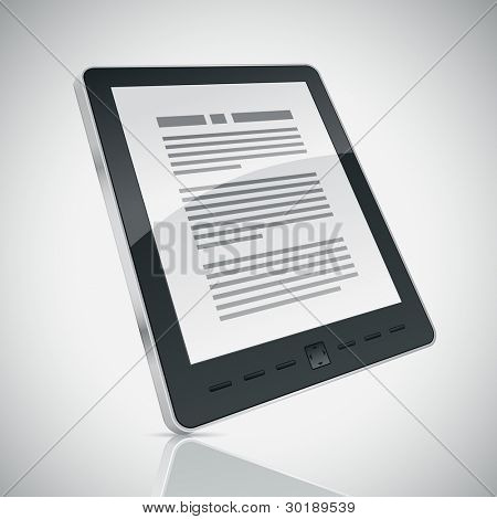 Electronic book (e-book) reader. 3d vector illustration.