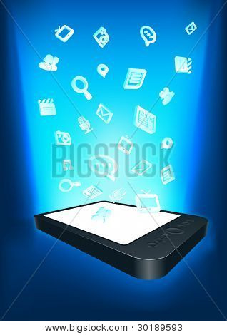 Mobility communication applications. Conceptual vector illustration. Elements are layered separately in vector file.