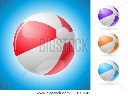 Vector beach ball illustration set.