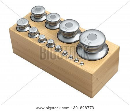 Calibration Weight Set With Various Sizes Isolated On White Background - 3d Illustration