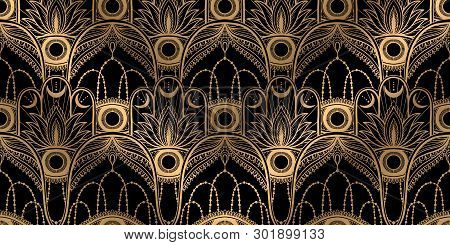 Seamless Pattern Hamsa Talisman Religion Asian. Gold Color Graphic In White Background. Symbol Of Pr
