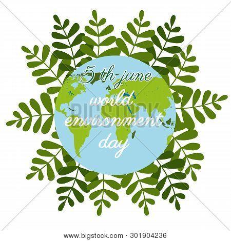 World Environment Day In Flat Style On Green Background. Nature Logo. Cartoon Globe. Vector Cartoon.