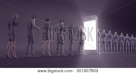 Technology Smartphone Turning People into Zombies Concept 3D Render