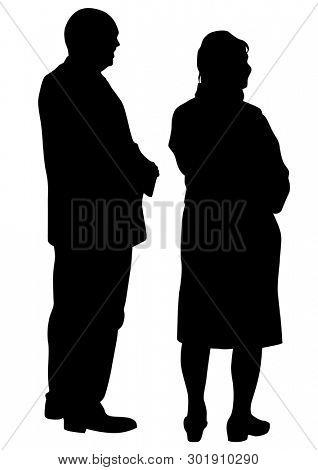 Elderly people walking on white background