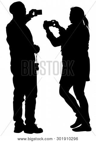 Man and woman with phone on a white background