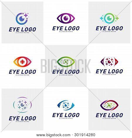 Set Of Eyes With Icons Health Logo Design Concept Vector. Health Eye Logo Template. Icon Symbol.