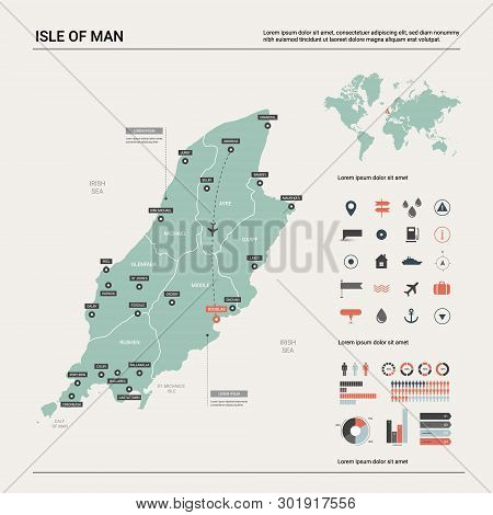 Vector Map Of Isle Of Man. Country Map With Division, Cities And Capital Douglas. Political Map,  Wo