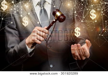 The Auctioneer Conducts The Auction Online On A Dark Background.