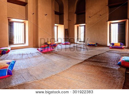 Rustaq, Oman, May 28, 2016: Interior room in historic Rustaq Fort in Oman