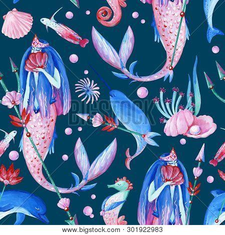 Gouache Seamless Fantasy Underwater Pattern With Water Nymph On Dark Background