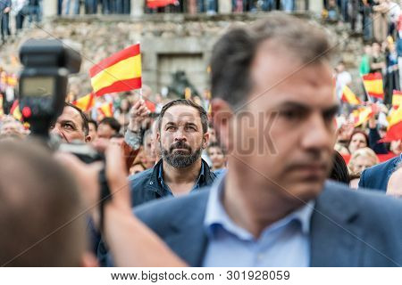 Caceres, Extremadura, Spain - May  18, 2019: Santiago Abascal, Leader Of The Extreme Right-wing Vox