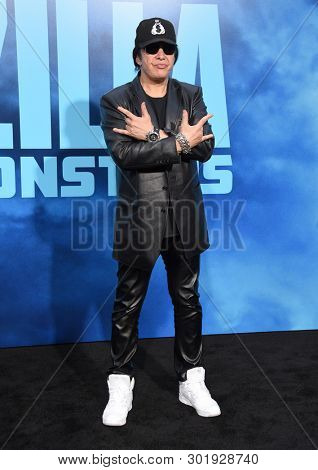 LOS ANGELES - MAY 18:  Gene Simmons arrives for the 'Godzilla: King of the Monstersl' Hollywood Premiere on May 18, 2019 in Hollywood, CA