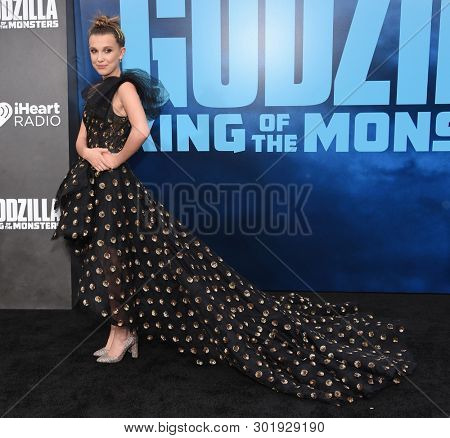 LOS ANGELES - MAY 18:  Millie Bobby Brown arrives for the 'Godzilla: King of the Monstersl' Hollywood Premiere on May 18, 2019 in Hollywood, CA