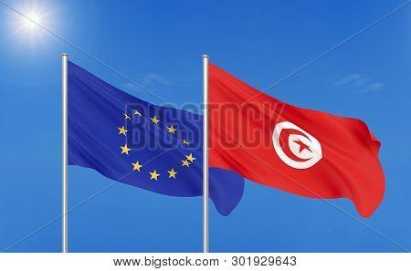 European Union Vs Tunisia. Thick Colored Silky Flags Of European Union And Tunisia. 3d Illustration