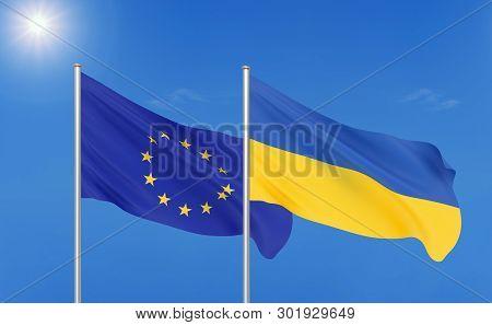 European Union Vs Ukraine. Thick Colored Silky Flags Of European Union And Ukraine. 3d Illustration