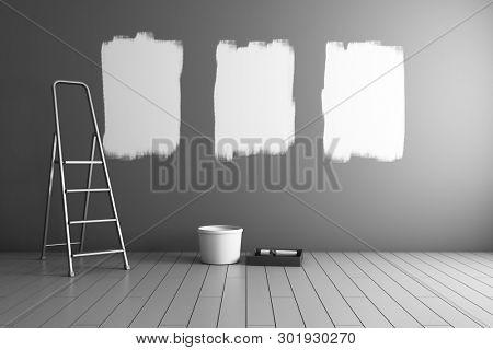 Repair of room, painted gallery frames. 3D illustration.