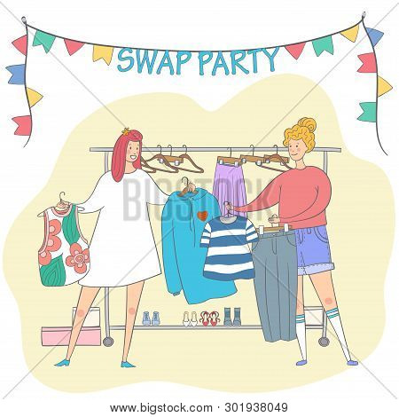 Swap Party Girls Sell, Buy And Exchange Clothes. Garage Sale. Two Young Social And Eco Responsible G
