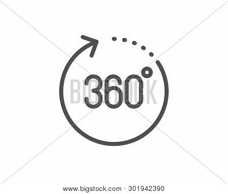 360 Degrees Line Icon. Panoramic View Sign. Vr Technology Simulation Symbol. Quality Design Element.