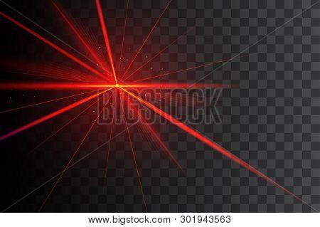 Party Laser Light On Transparent Black Background. Red Laser Beam.