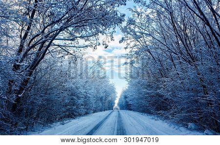 Road In The Snow. Slippy Road. Beautiful Landscape Of A Snowy Road Stretching Into The Distance