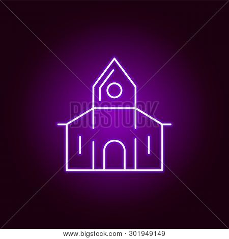 Abandoned House Icon In Neon Style. Element Of Halloween Illustration. Signs And Symbols Collection