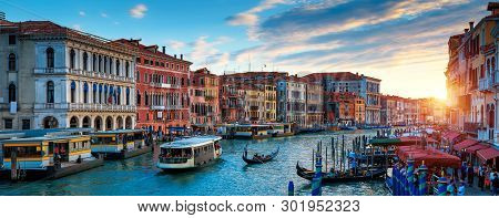 Panorama Of Venice At Sunset, Italy. Scenic View Of Grand Canal In Twilight. It Is A Top Tourist Att
