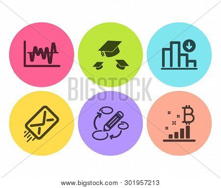 Throw Hats, Decreasing Graph And Stock Analysis Icons Simple Set. E-mail, Keywords And Bitcoin Graph