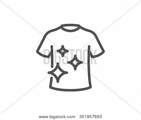 Clean T-shirt Line Icon. Laundry Shirt Sign. Clothing Cleaner Symbol. Quality Design Element. Linear