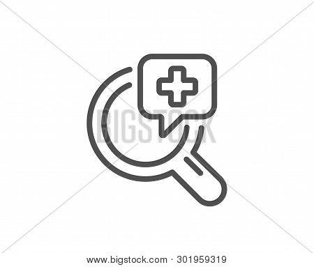Medical Analyzes Line Icon. Medicine Help Sign. Pharmacy Medication Symbol. Quality Design Element.