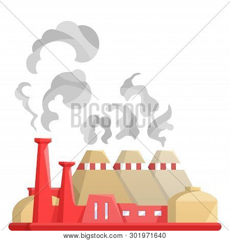 Industrial Factory Building.city Landscape Nuclear Power Plant.flat Vector.industry Concept Manufact
