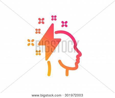 Creative Brainstorming Icon. Human Head With Lightning Bolt Sign. Inspiration Symbol. Classic Flat S