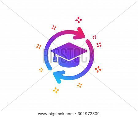 Continuing Education Icon. Online Education Sign. Dynamic Shapes. Gradient Design Continuing Educati