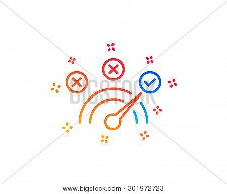 Correct Answer Line Icon. Speedometer Concept Sign. Check Symbol. Gradient Design Elements. Linear C
