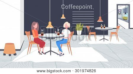 Two Girls Discussing During Meeting Break For Drink At Work Business Time Communication Concept Busi