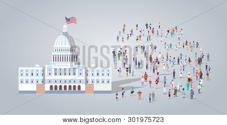 People Group Near Capitol Building United States Of America Senate House Washington Dc Different Occ