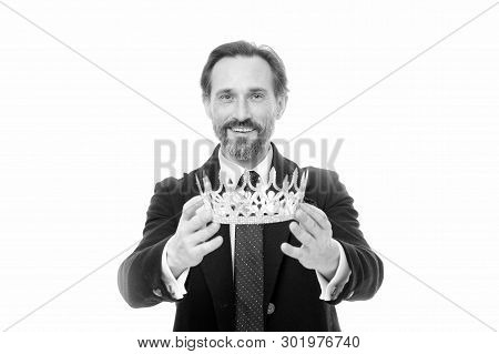 Become king ceremony. King attribute. Become next king. Monarchy family traditions. Man nature bearded guy in suit hold golden crown symbol of monarchy. Direct line to throne. Enormous privilege. poster