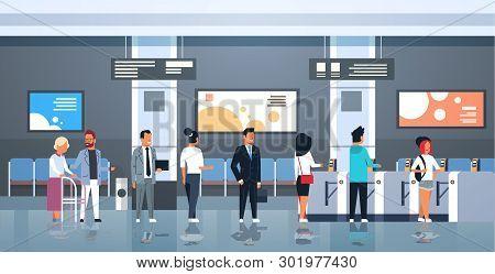 People Standing Line Queue At Automatic Fare Gate Public Transport Station Turnstile Entrance Men Wo