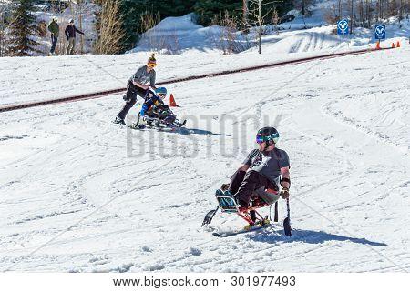 Kimberley, Canada - March 19, 2019: Handicapped Person Riding A Mono Ski Vancouver Adaptive Snow Spo