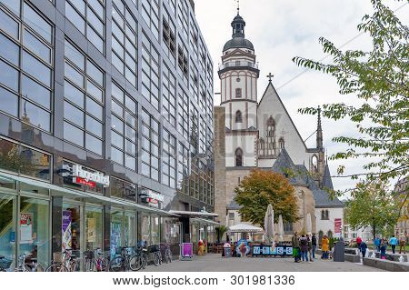 Leipzig, Germany - October 2018: Exterior Of St Thomas Church (thomaskirche), A Lutheran Church In L