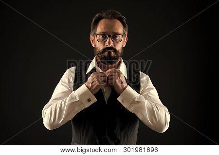 Caucasian Concept. Caucasian Man Button Shirt. Caucasian Man With Beard And Mustache. Bearded Caucas