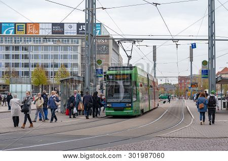 Leipzig, Germany - October 2018: Modern Low-floor Tram Of Leipzig Tramway Network, Public Transport