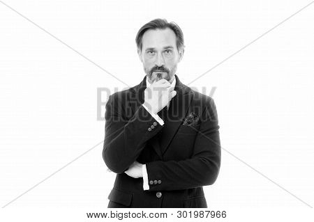 Man Handsome Mature Fashion Model Wear Fashionable Suit On White Background. Bespoke Suit Flatters E