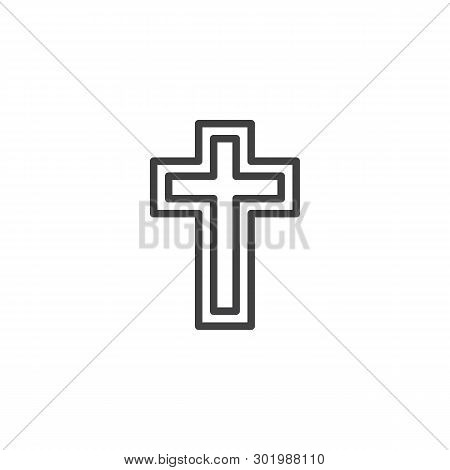 Religion Cross Line Icon. Linear Style Sign For Mobile Concept And Web Design. Holy Cross Outline Ve