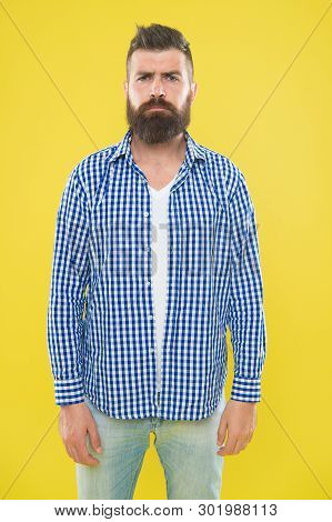 Mature Upset Man. Male Fashion And Spring Style. Brutal Bearded Hipster In Checkered Shirt. Summer H